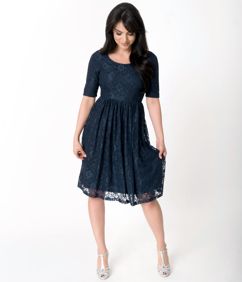 Navy Blue Floral Lace Sleeved Emmy Swing Dress