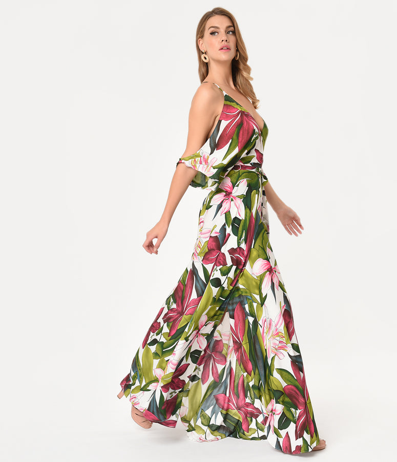 Vintage Style Pink Tropical Florals Cold Shoulder Maxi Dress
