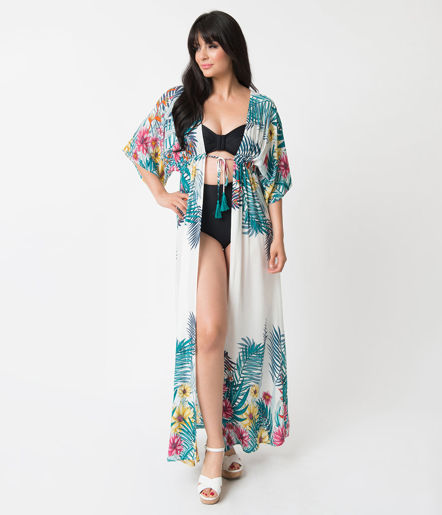 Vintage Style Off White & Tropical Print Swim Coverup