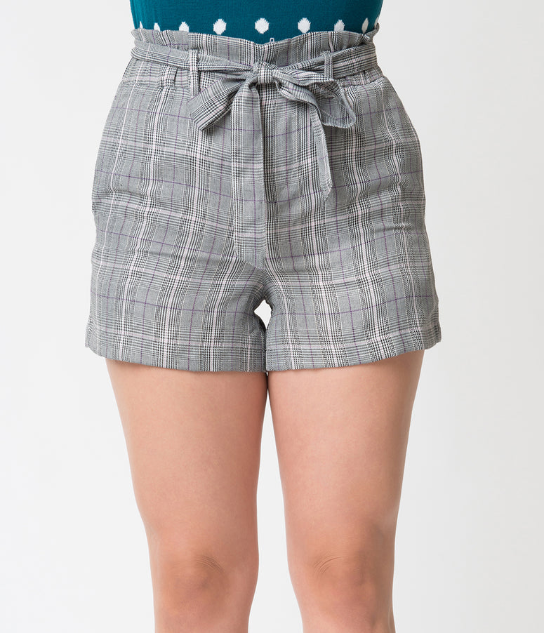 Retro Style Grey Plaid Belted High Waist Shorts