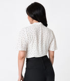 Vintage Style White & Black Polka Dot Flutter Sleeved Cotton Doll Blouse