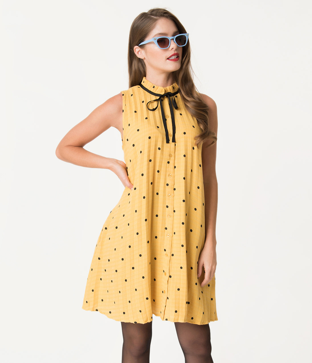 1960s Dresses | 60s Dresses Mod, Mini, Jakie O, Hippie Honey Yellow  Black Polka Dot Sleeveless Cotton Shift Dress $42.00 AT vintagedancer.com