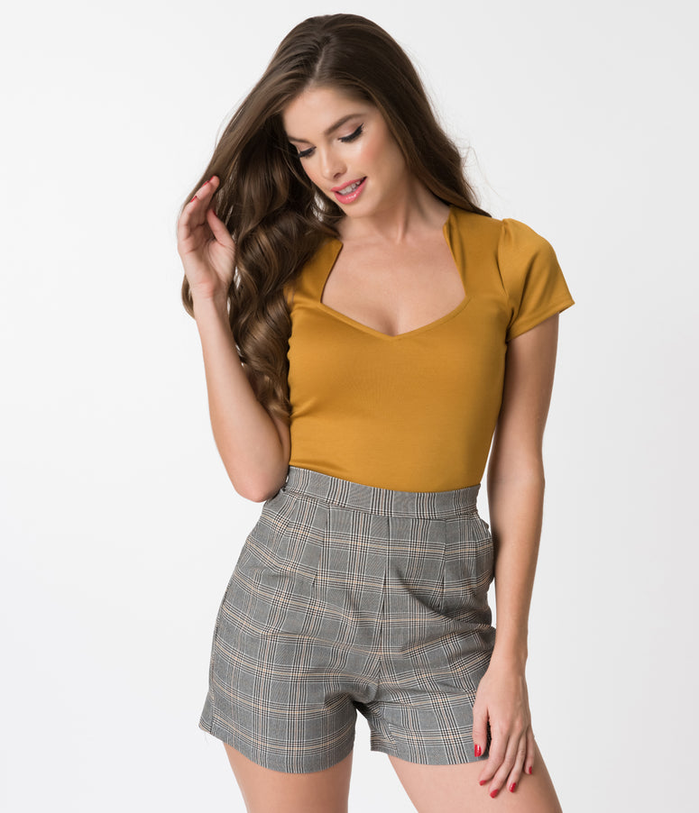 Steady Mustard Yellow Short Sleeve Knit Sophia Top