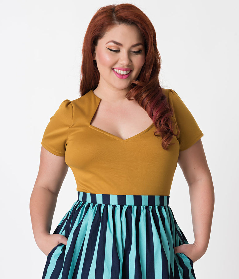 Steady Plus Size Mustard Yellow Short Sleeve Knit Sophia Top