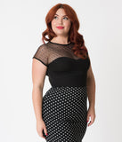 Steady Plus Size Black Dot Sheer Miss Fancy Knit Top