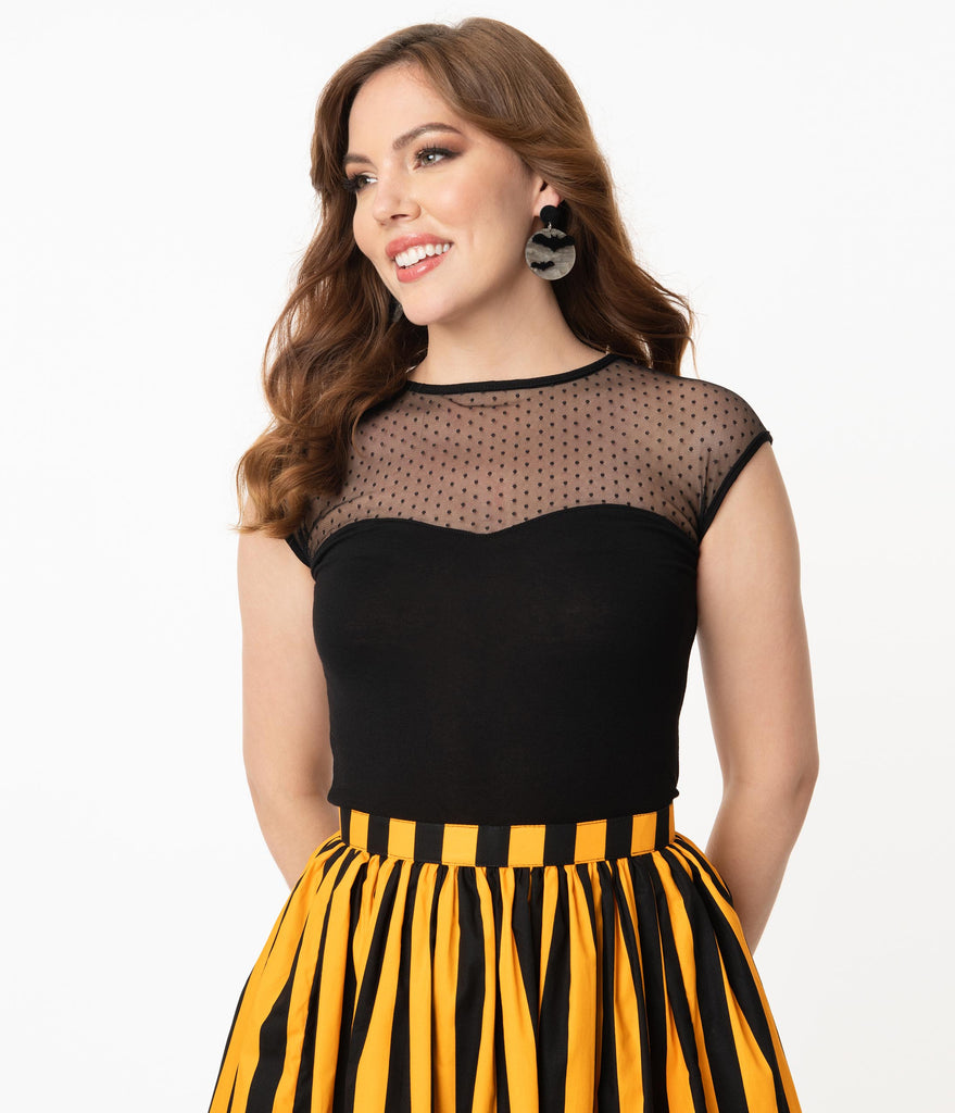 Steady Black Dot Sheer Miss Fancy Knit Top