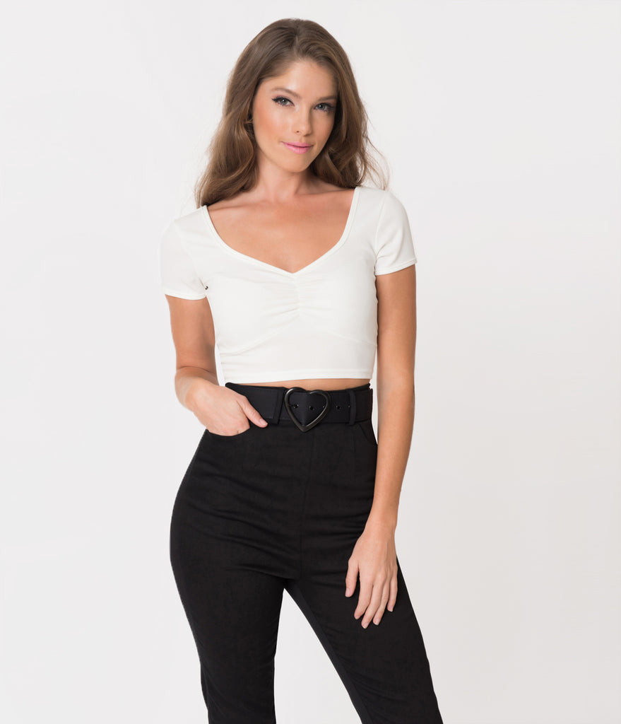 Steady Retro Style Ivory Sweetheart Short Sleeve Stretch Isabelle Crop Top