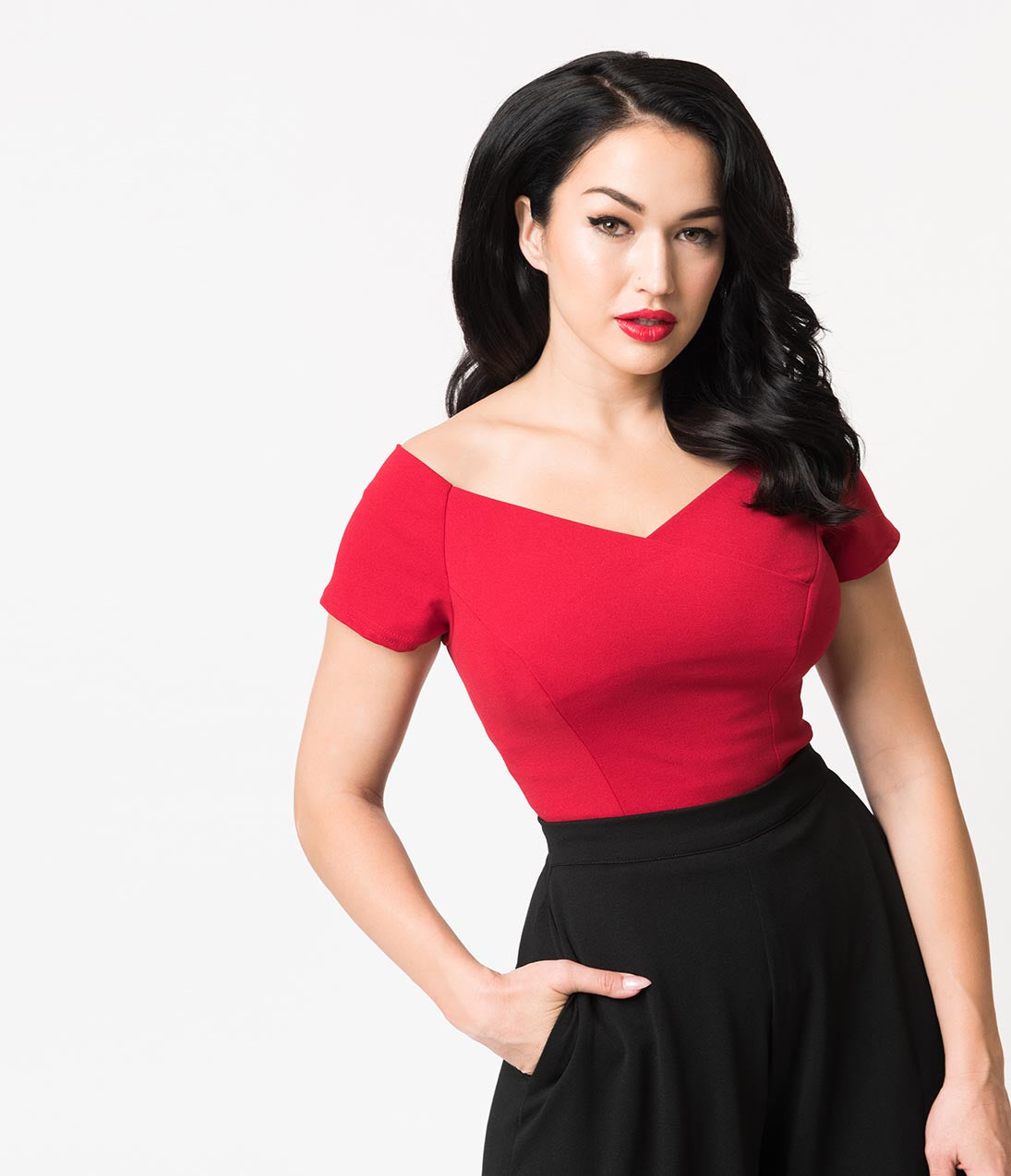 1950s Rockabilly & Pin Up Tops, Blouses, Shirts Steady Red Crepe Off Shoulder Short Sleeve Betty Top $36.00 AT vintagedancer.com