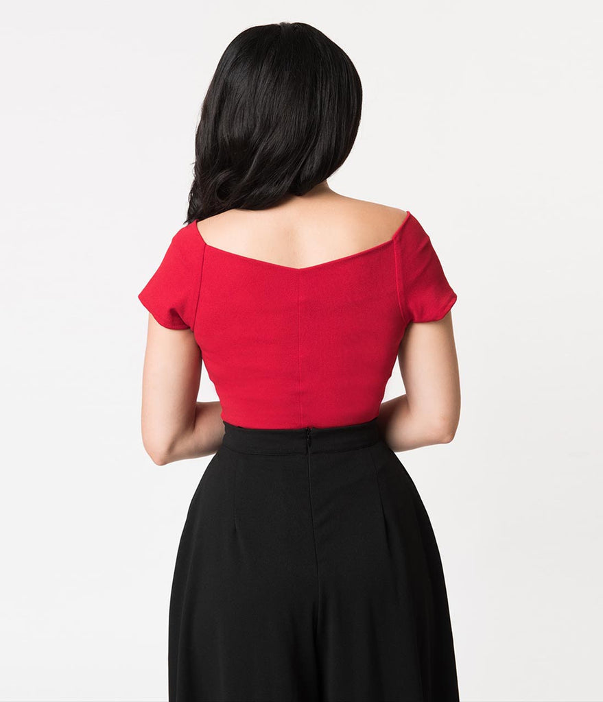 Steady Red Crepe Off Shoulder Short Sleeve Betty Holiday Top