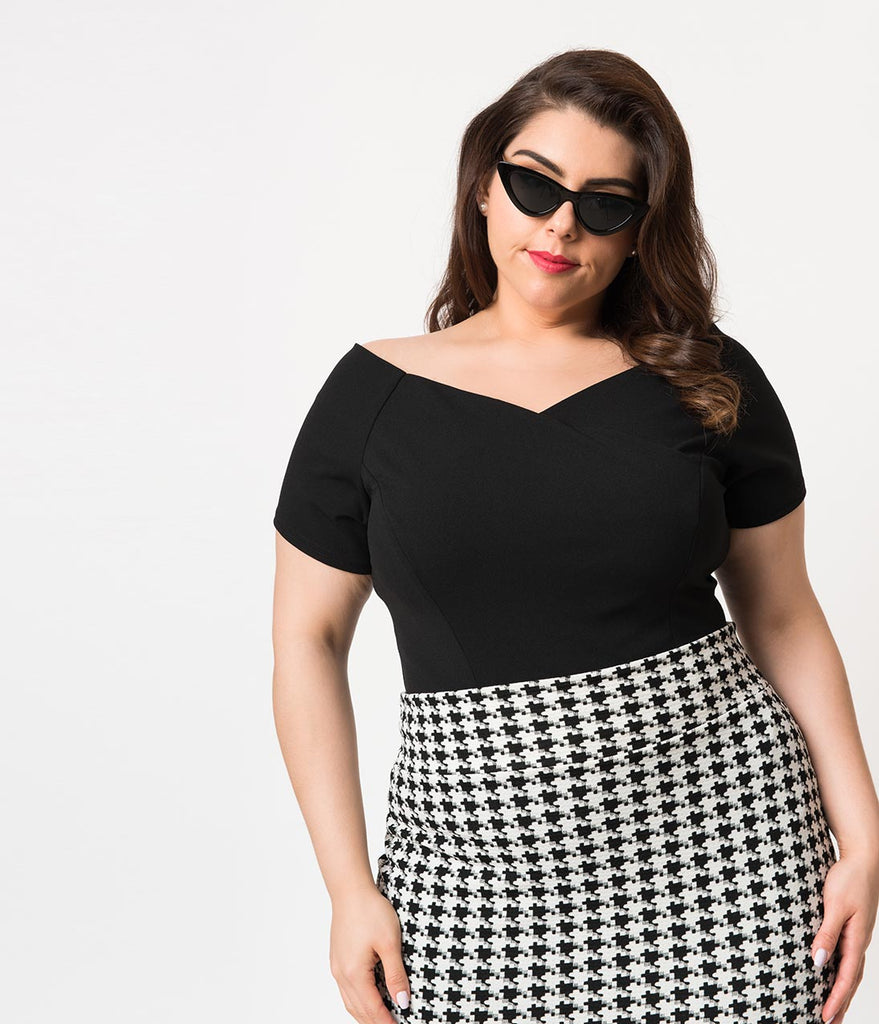 Steady Plus Size Black Crepe Off Shoulder Short Sleeve Betty Top