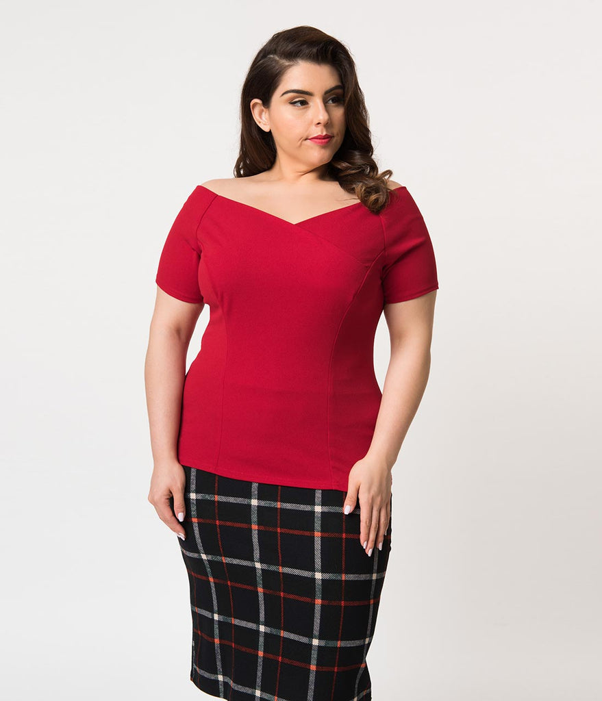 Steady Plus Size Red Crepe Off Shoulder Short Sleeve Betty Holiday Top