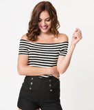 Steady Retro Style Black & White Striped Sandra Dee Off Shoulder Top