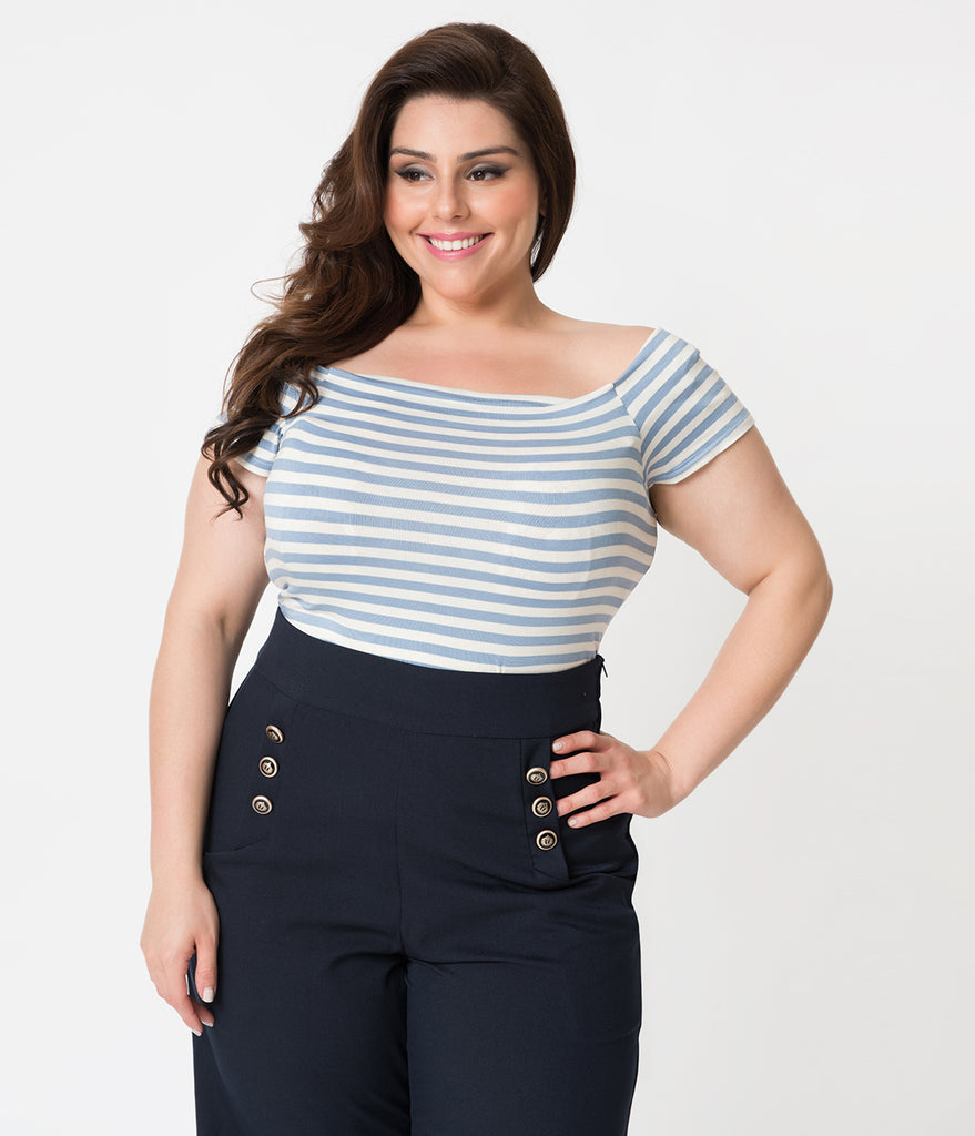 Steady Plus Size Retro Style Denim Blue & White Striped Sandra Dee Off Shoulder Top