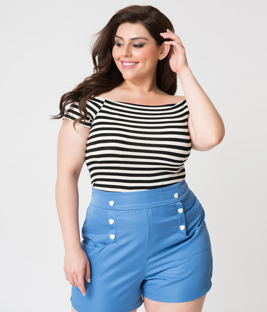 Steady Plus Size Retro Style Black & White Striped Sandra Dee Off Shoulder Top