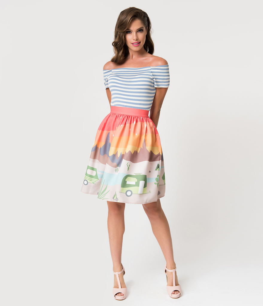 Steady 1950s Style Trail Blazing High Waisted Skater Skirt