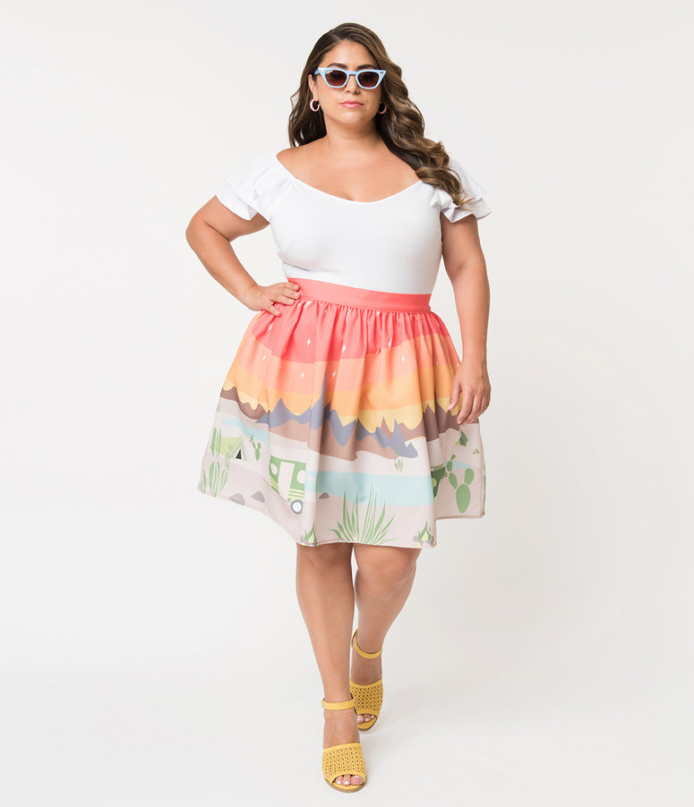 Steady Plus Size 1950s Style Trail Blazing High Waisted Skater Skirt
