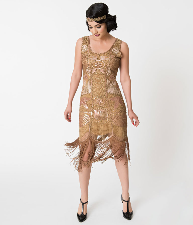 Unique Vintage 1920s Style Gold Beaded Fringe Raina Flapper Dress