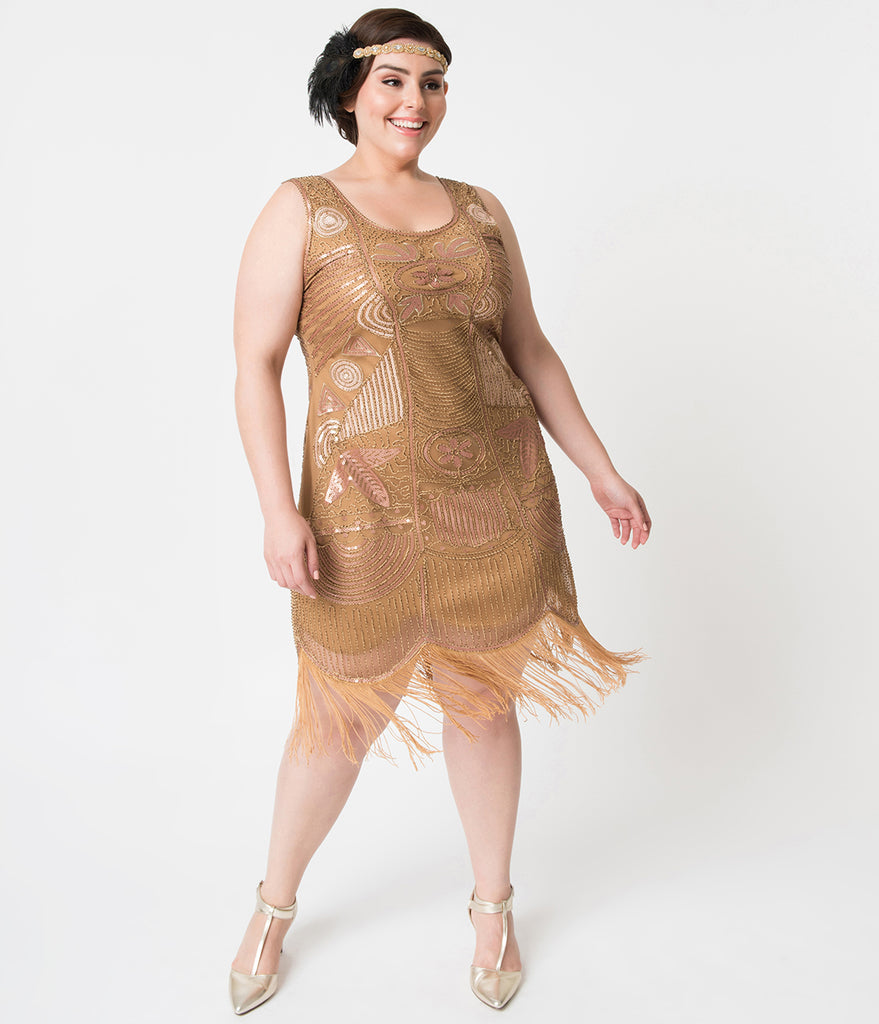 Unique Vintage Plus Size 1920s Style Gold Beaded Fringe Raina Flapper Dress