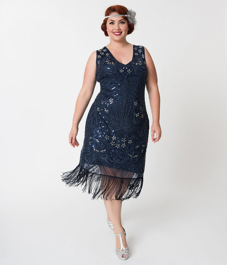 Unique Vintage Plus Size Navy Blue Beaded Candide Fringe Flapper Dress