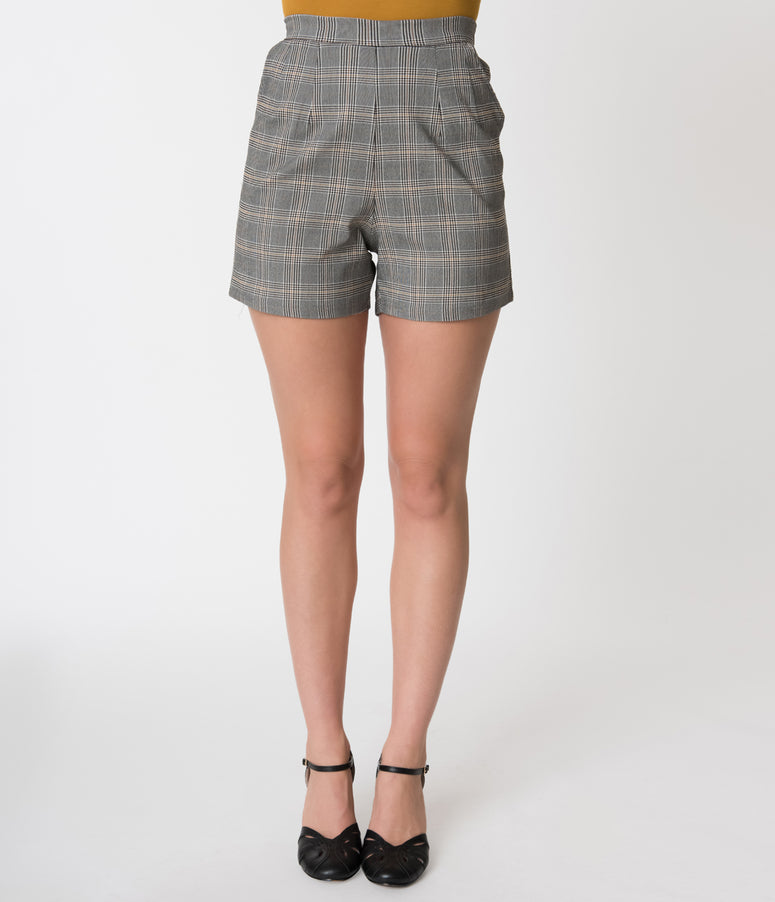 Vintage Style Grey & Gold Checkered Plaid High Waist Stretch Shorts