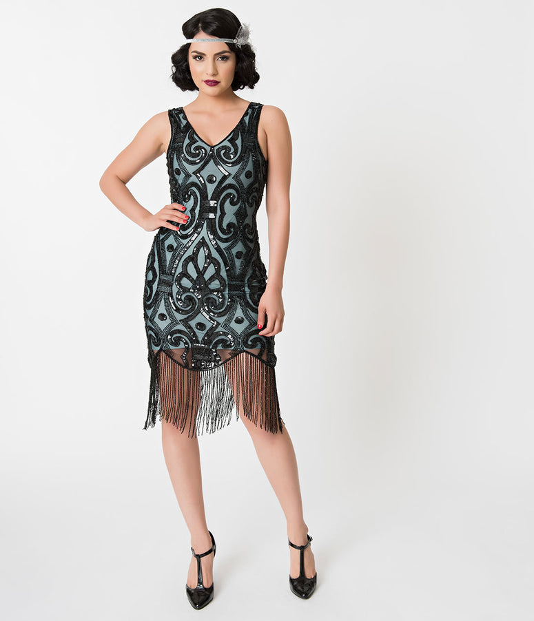Unique Vintage Aqua Blue & Black Sequin Fringe Apolline Flapper Dress
