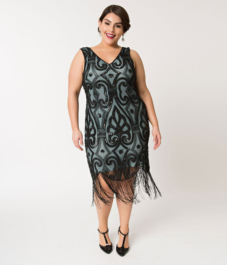 Unique Vintage Plus Size Aqua Blue & Black Sequin Fringe Apolline Flapper Dress