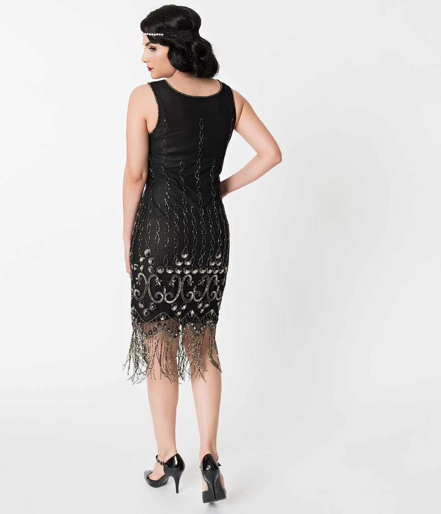 Unique Vintage 1920s Style Black & Silver Sequin Maryam Cocktail Dress
