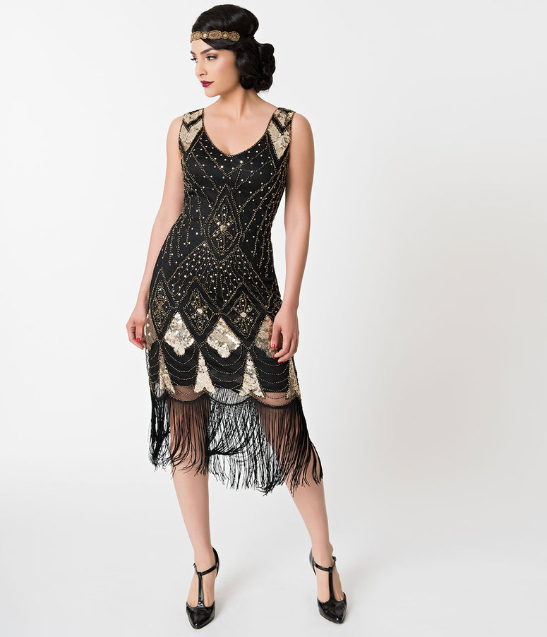 Unique Vintage Black & Gold Sequin Lina Fringe Flapper Dress