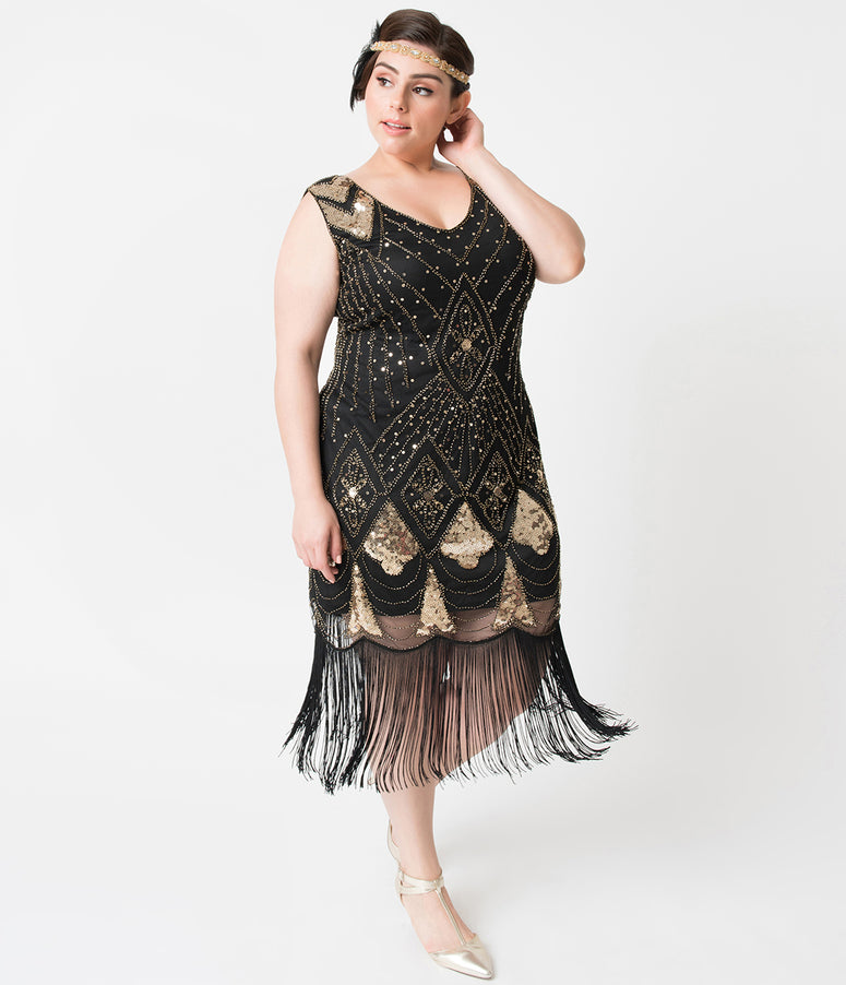 Unique Vintage Plus Size Black & Gold Sequin Lina Fringe Flapper Dress