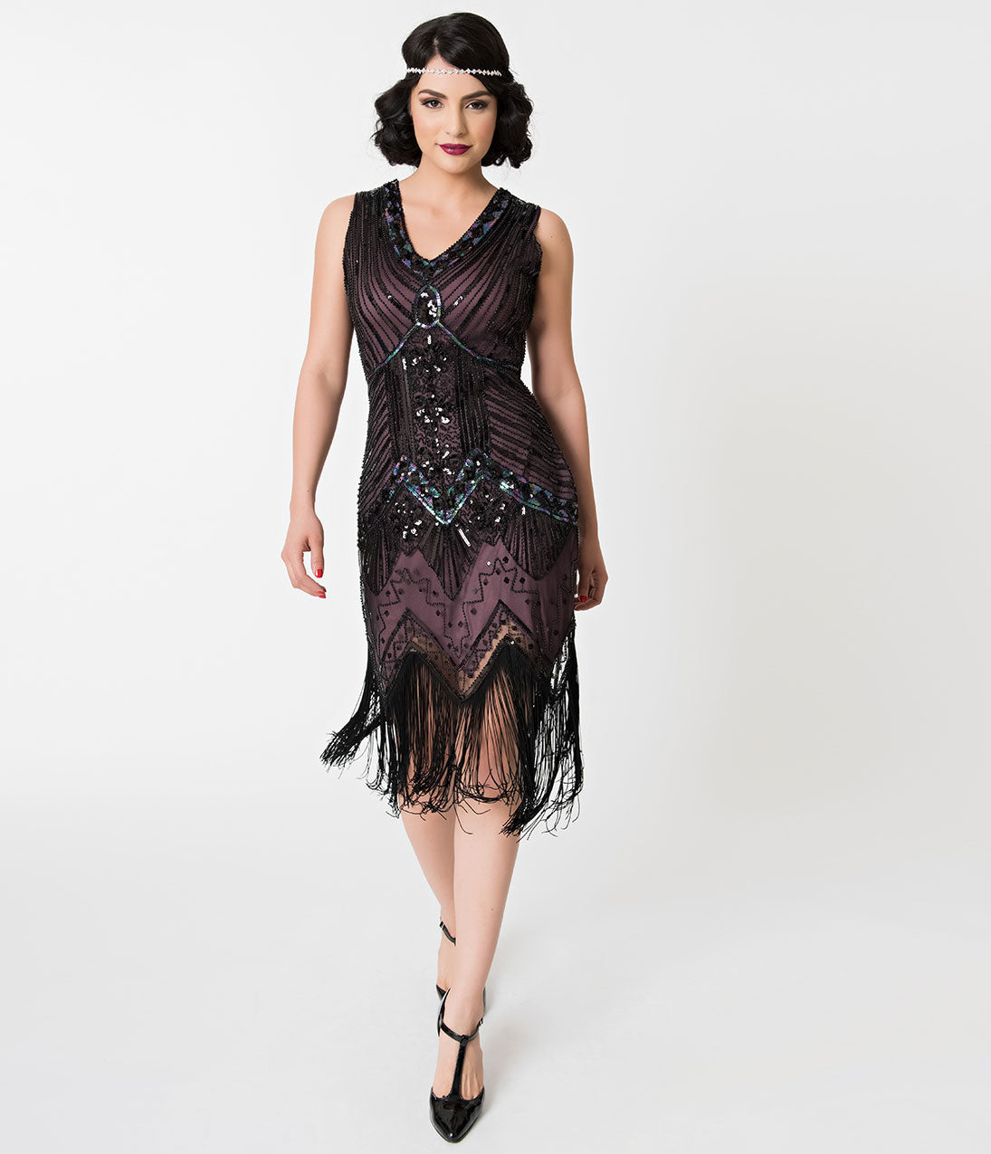Vintage Evening Dresses and Formal Evening Gowns Unique Vintage 1920S Deco Purple  Black Sequin Veronique Fringe Flapper Dress $98.00 AT vintagedancer.com