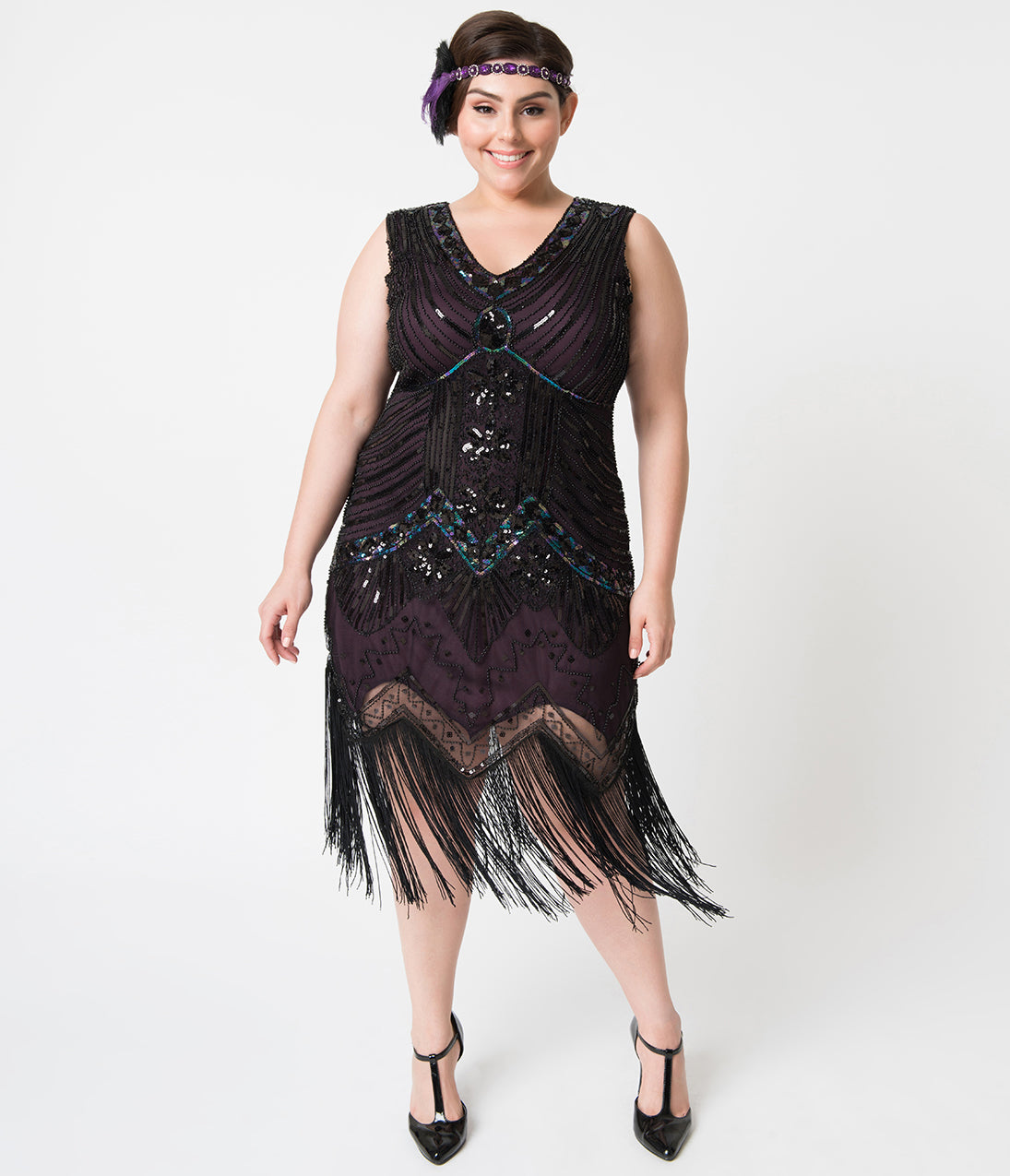 1920s Plus Size Flapper Dresses, Gatsby Dresses, Flapper Costumes Unique Vintage Plus Size 1920S Deco Purple  Black Sequin Veronique Fringe Flapper Dress $98.00 AT vintagedancer.com