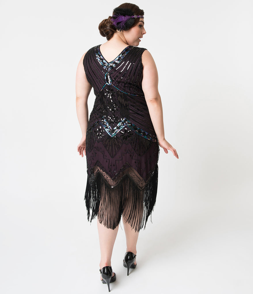 Unique Vintage Plus Size 1920s Deco Purple & Black Sequin Veronique Fringe Flapper Dress