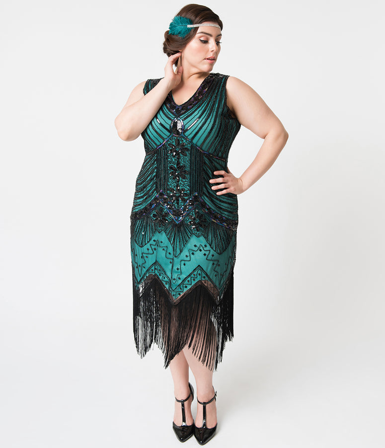 Unique Vintage Plus Size 1920s Deco Teal & Black Veronique Fringe Flapper Dress