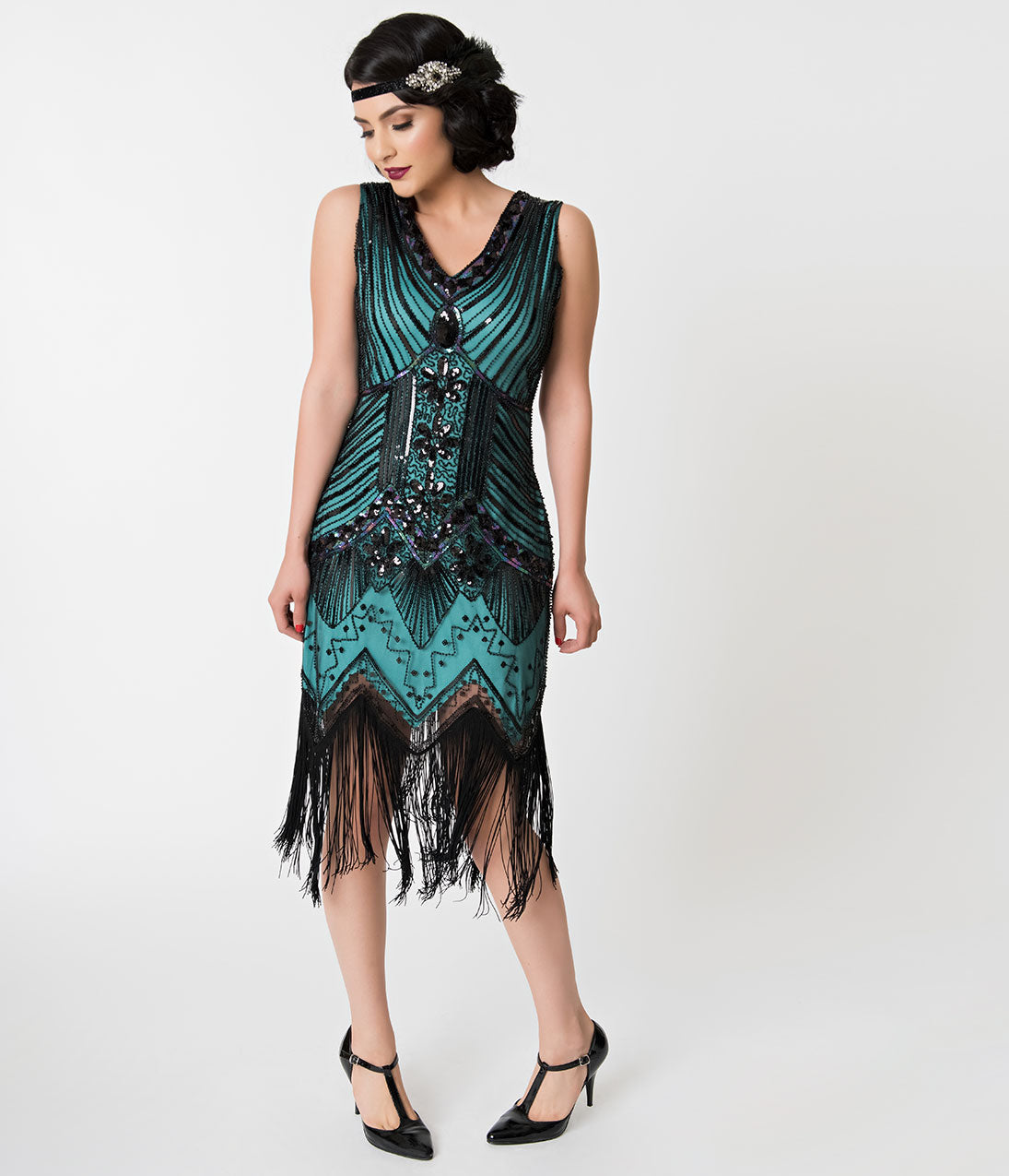 Flapper Dresses & Quality Flapper Costumes Unique Vintage 1920S Deco Teal  Black Veronique Fringe Flapper Dress $98.00 AT vintagedancer.com