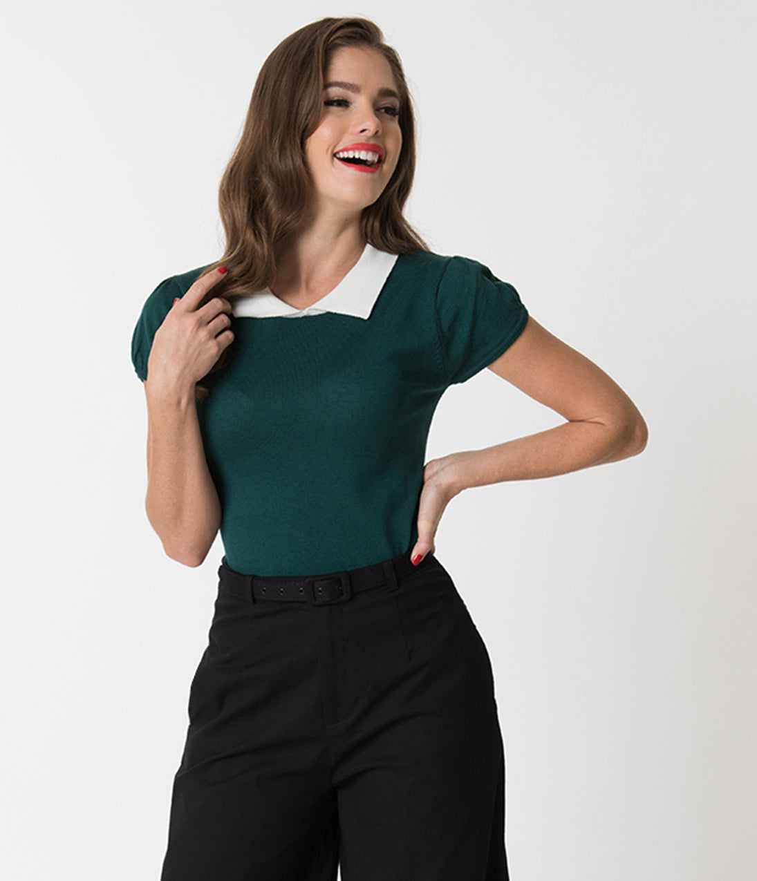 1940s Blouses and Tops Vintage Style Peacock Green  Ivory Collar Short Sleeve Sweater Knit Top $32.00 AT vintagedancer.com