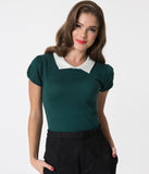 Vintage Style Peacock Green & Ivory Collar Short Sleeve Sweater Knit Top