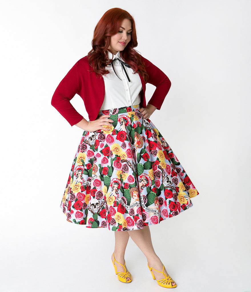 Hell Bunny Plus Size 1950s Style Blue & Pin-Up Print Mexico Swing Skirt