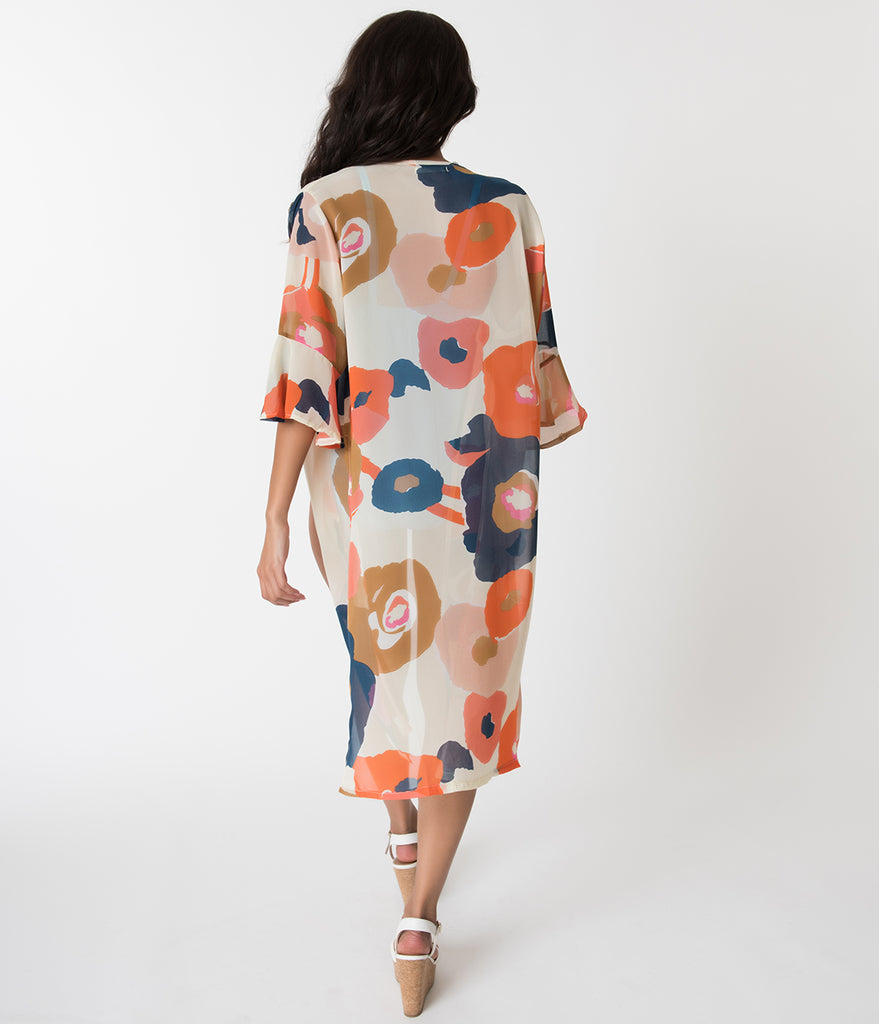 Ivory & Multi Color Tropical Patterned Chiffon Kimono Swim Cover Up