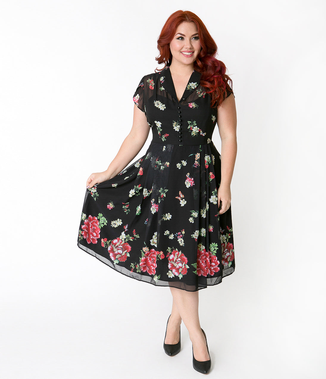 1950s Swing Dresses | 50s Swing Dress Hell Bunny Plus Size Black Floral  Butterfly Jolie Papillon Chiffon Swing Dress $92.00 AT vintagedancer.com