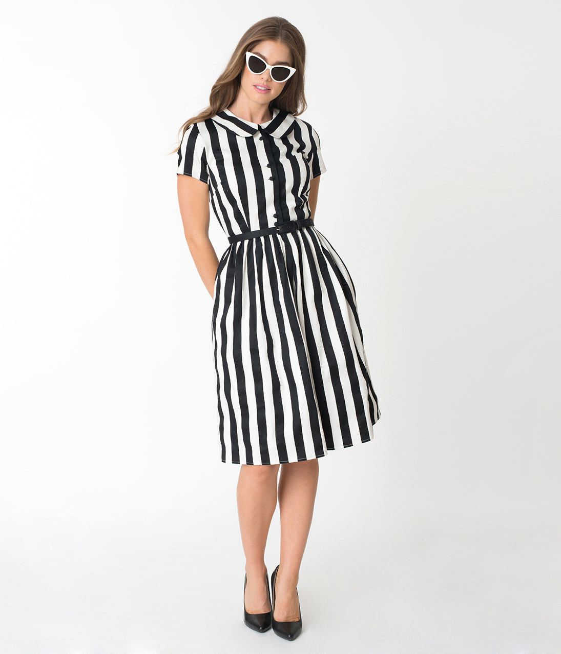 Rockabilly Dresses | Rockabilly Clothing | Viva Las Vegas Unique Vintage 1960S Style Black  White Striped Regina Shirtdress $118.00 AT vintagedancer.com