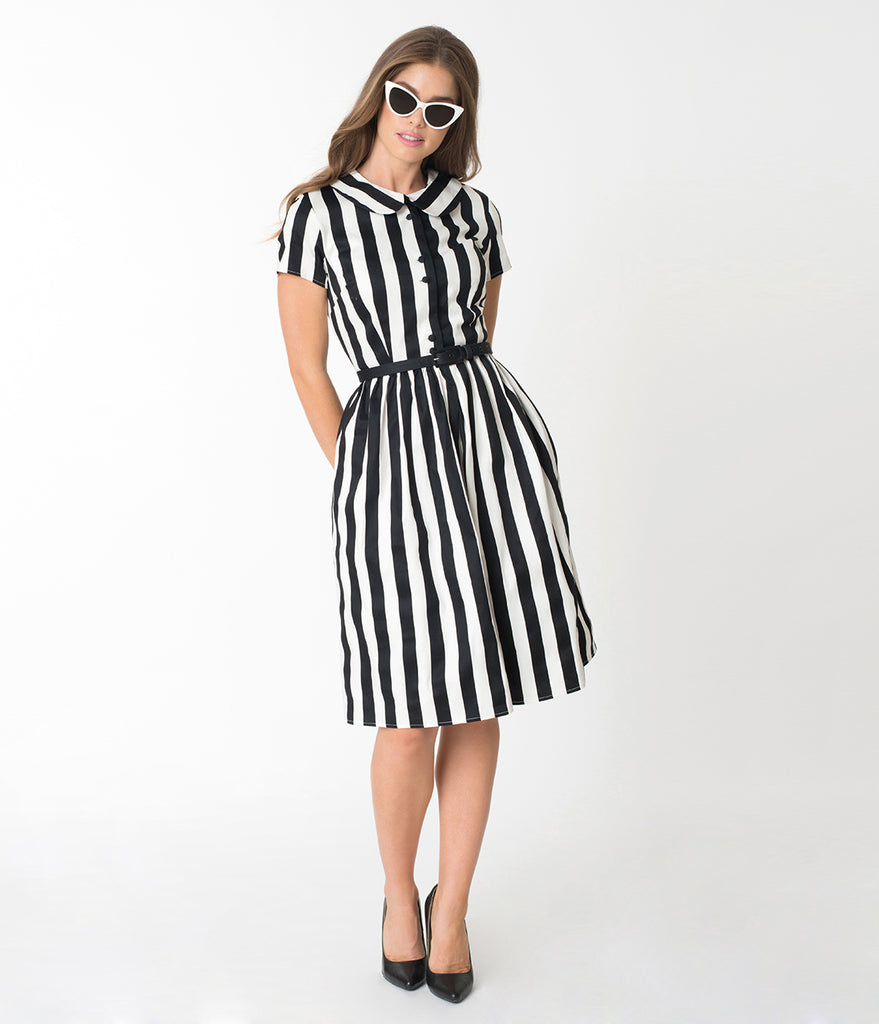 Unique Vintage 1960s Style Black & White Striped Regina Shirtdress
