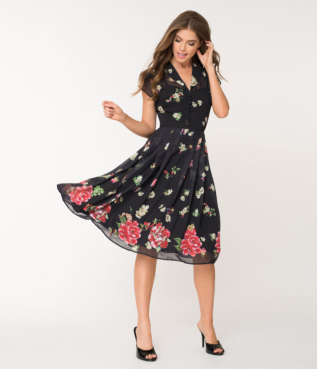 500 Vintage Style Dresses for Sale Hell Bunny Black Floral  Butterfly Jolie Papillon Chiffon Swing Dress $92.00 AT vintagedancer.com