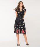 Hell Bunny Black Floral & Butterfly Jolie Papillon Chiffon Swing Dress