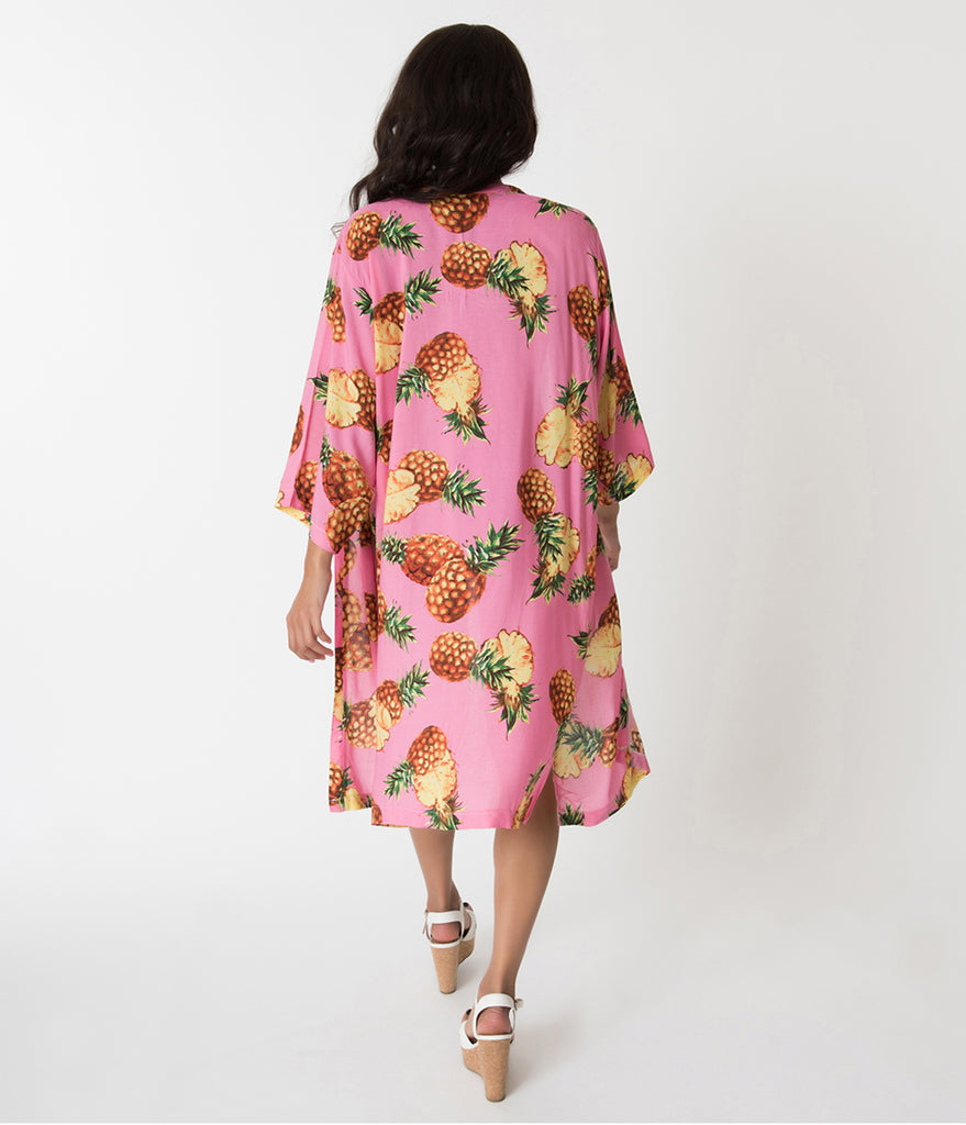 Hot Pink & Pineapple Print Kimono Sleeved Swim Cover Up