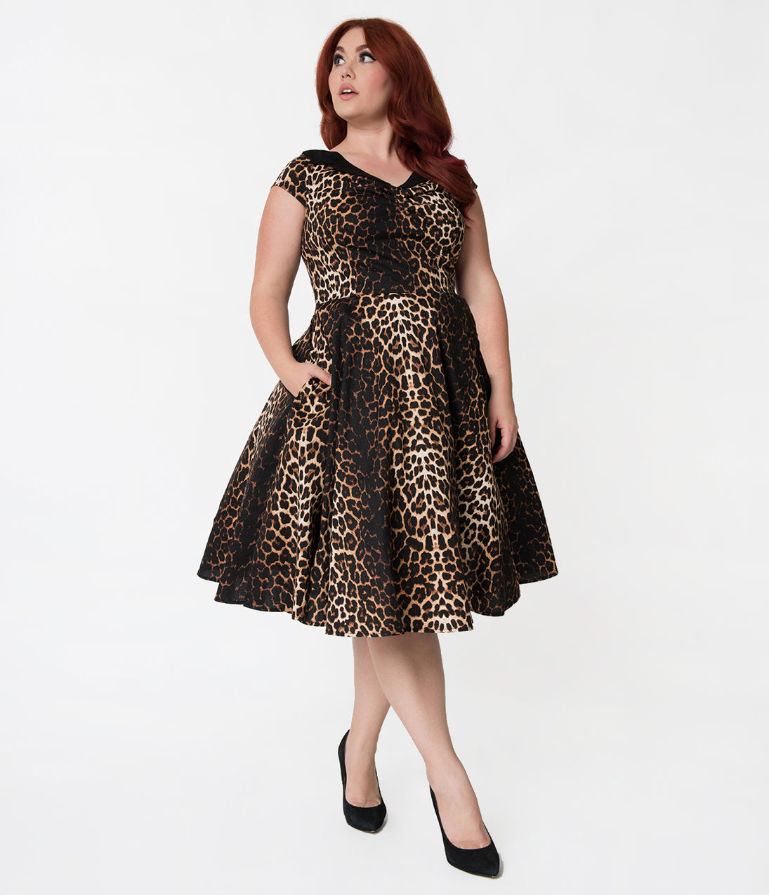 Rockabilly Dresses | Rockabilly Clothing | Viva Las Vegas Hell Bunny Plus Size Leopard Print Panthera Cotton Swing Dress $78.00 AT vintagedancer.com