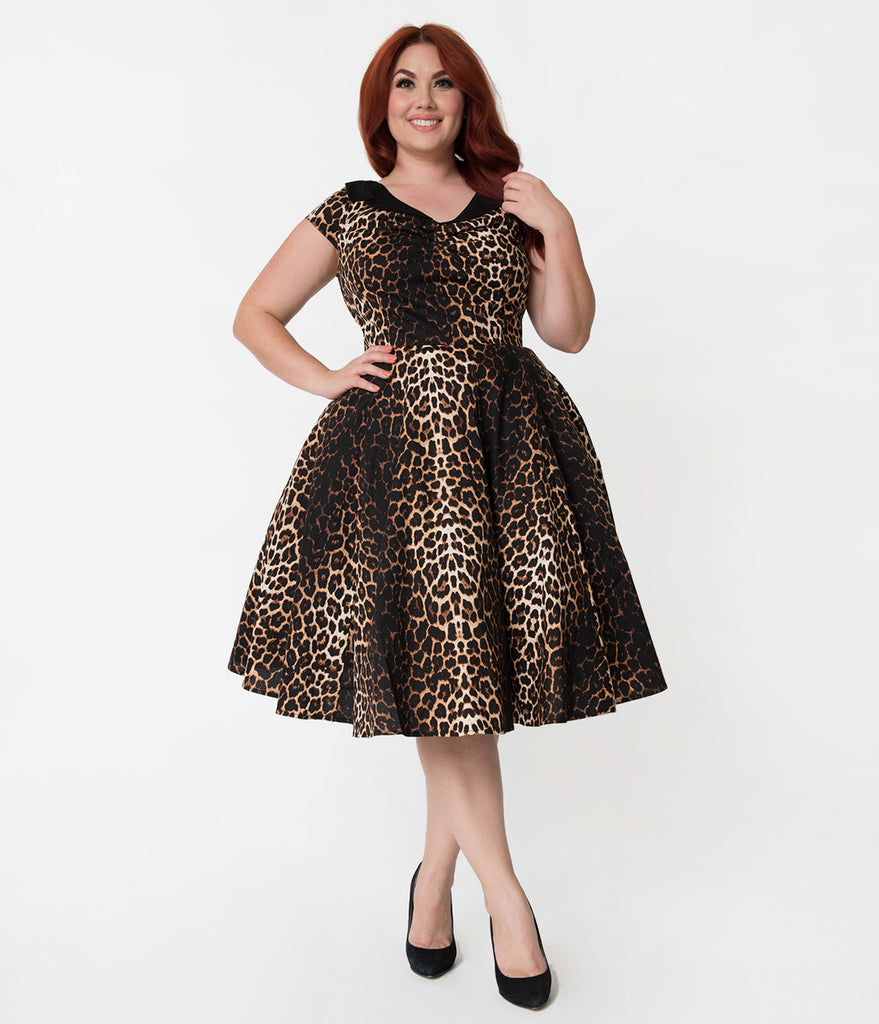 Hell Bunny Plus Size Leopard Print Panthera Cotton Swing Dress
