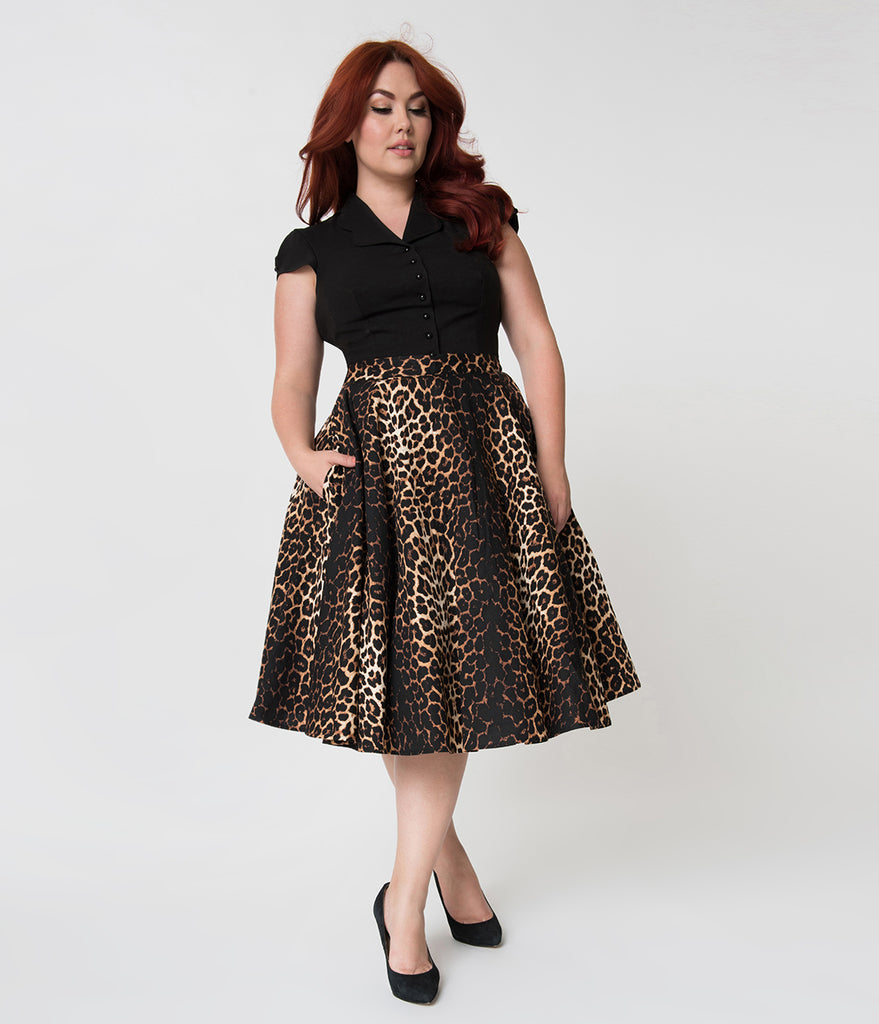 Hell Bunny Plus Size 1950s Style Leopard Print Cotton Panthera Swing Skirt