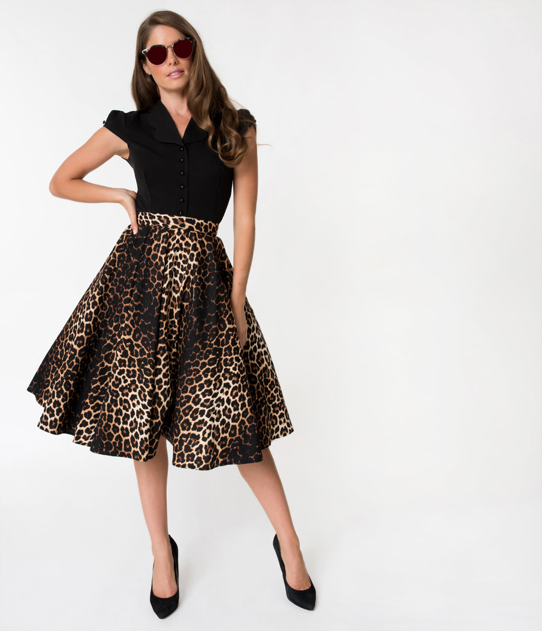 Retro Skirts: Vintage, Pencil, Circle, & Plus Sizes Hell Bunny 1950S Style Leopard Print Cotton Panthera Swing Skirt $48.00 AT vintagedancer.com