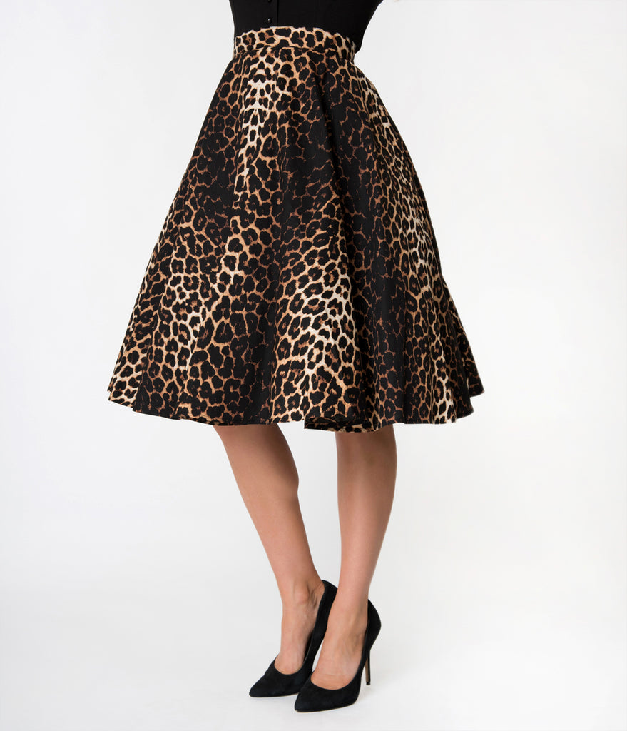 Hell Bunny 1950s Style Leopard Print Cotton Panthera Swing Skirt