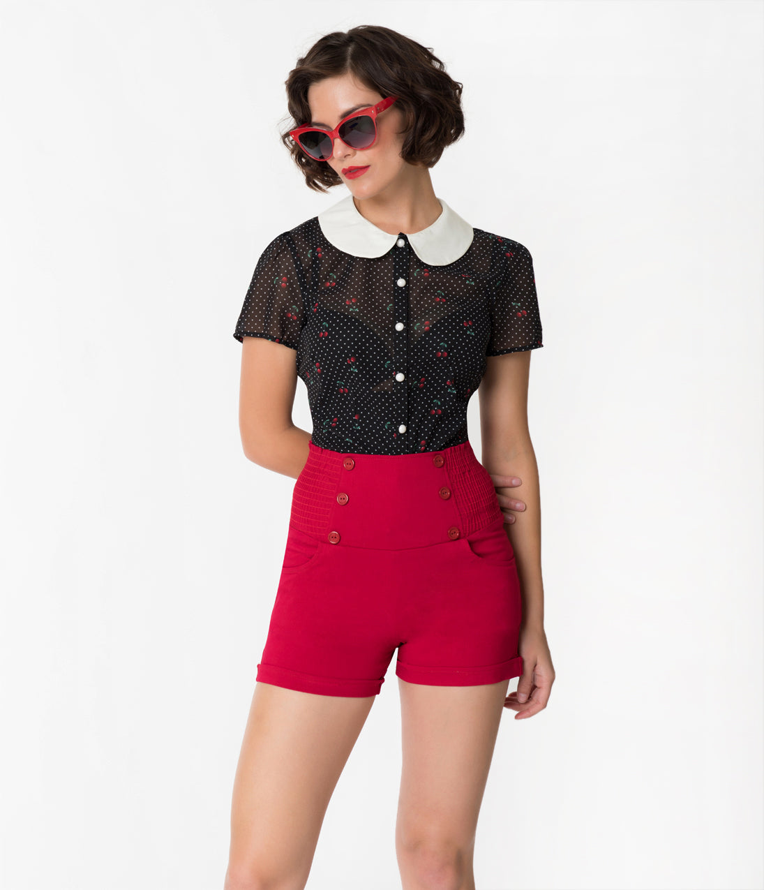Vintage High Waisted Shorts | 1950s Pinup, Rockabilly Shorts Hell Bunny Black  Cherry Print Chiffon Sophie Blouse $46.00 AT vintagedancer.com
